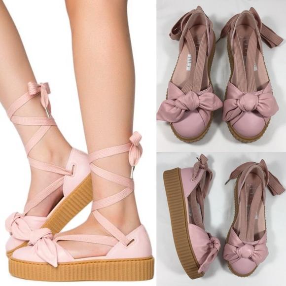online store dfa39 9cd05 PUMA FENTY RIHANNA Bow Creeper Lace Up Sandal Flat NWT